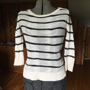 LOFT sheer striped sweater black & cream